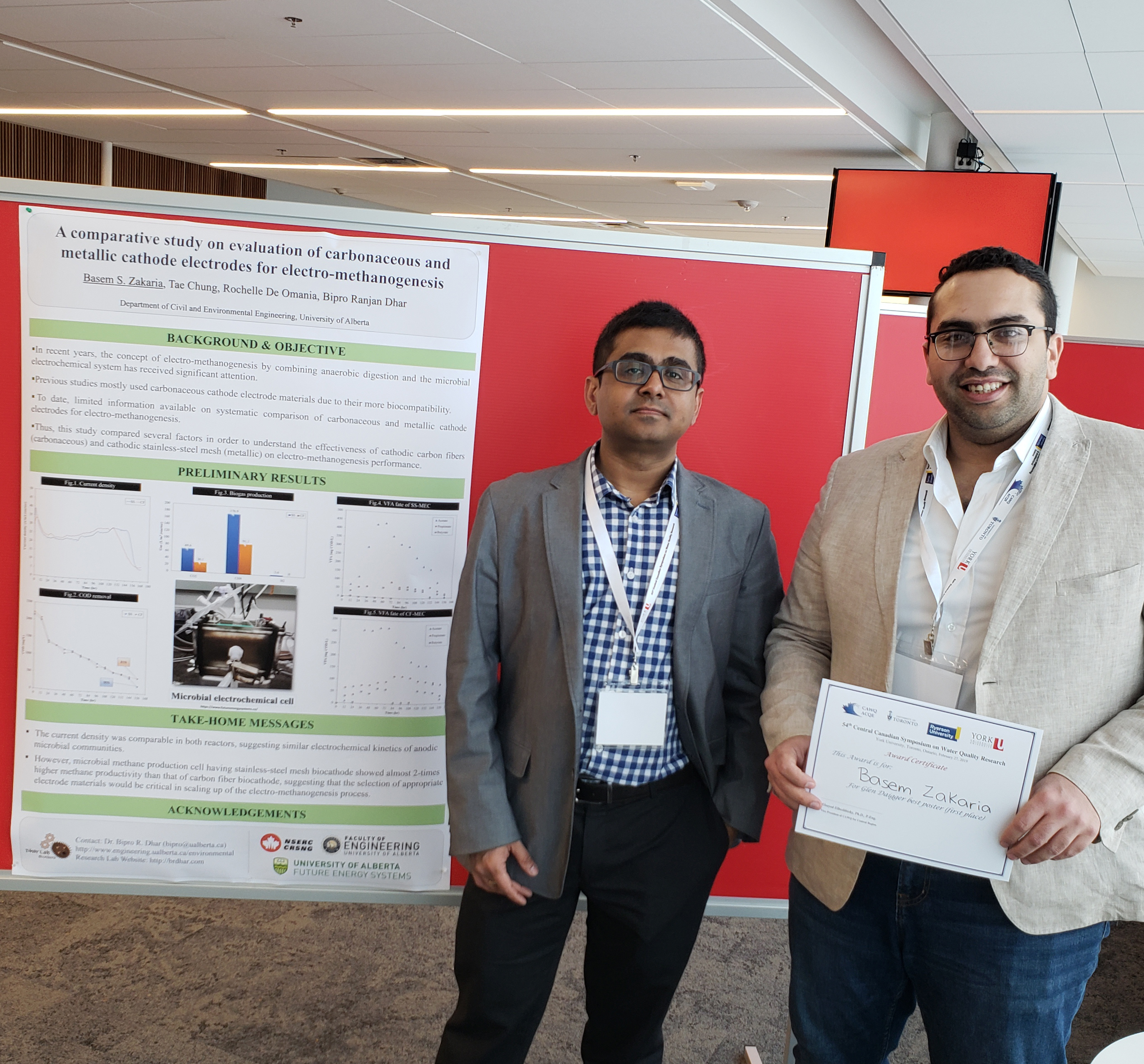 Basem won first prize in the poster competition at the 54th Central Canadian Symposium on Water Quality Research (Feb 27, 2019, Toronto).